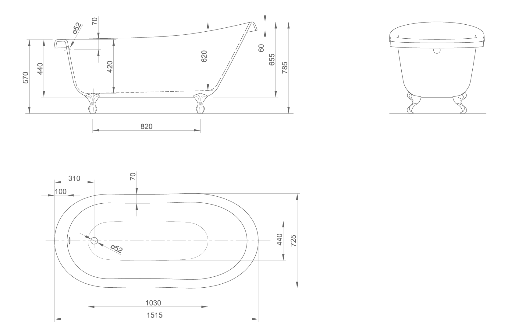Slipper technical drawing
