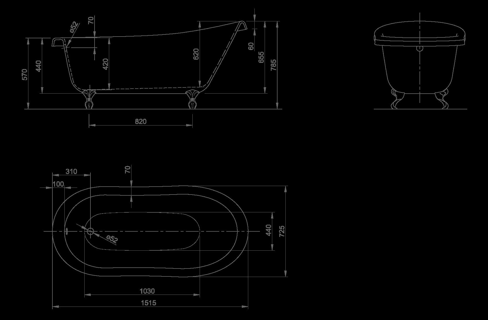 Slipper technische Zeichnung