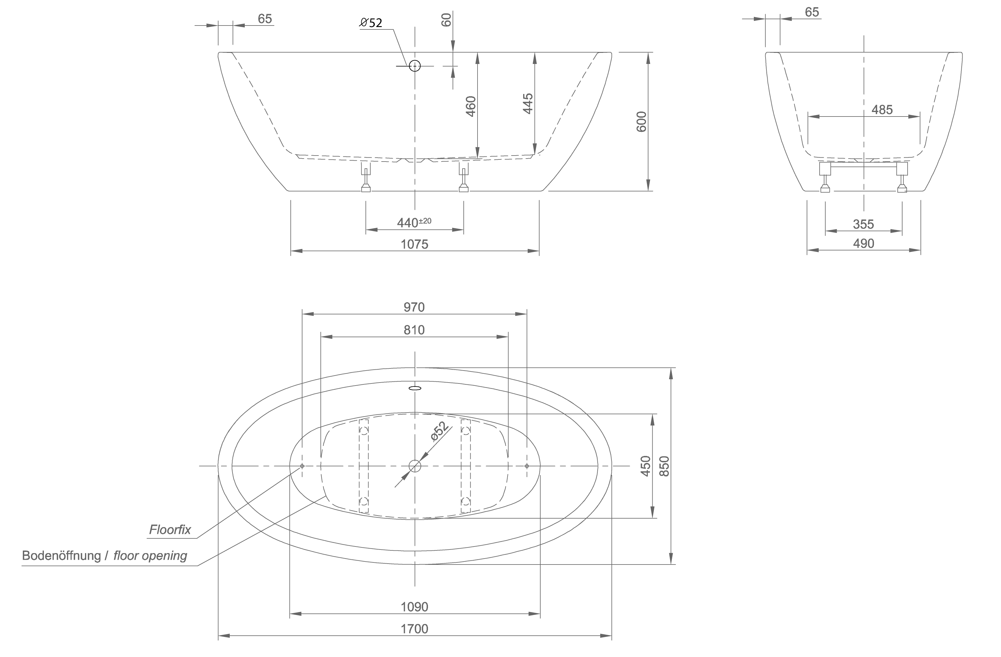 Loom XS technical drawing