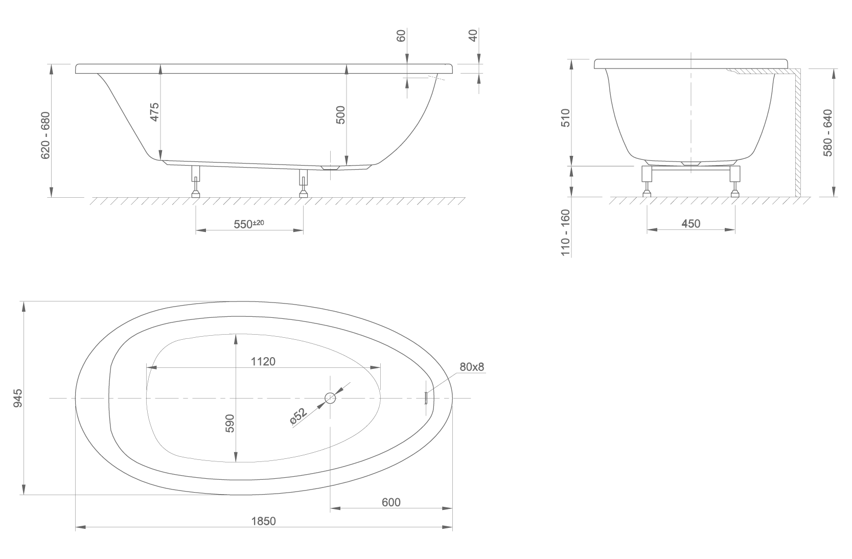 lounge Fit technical drawing